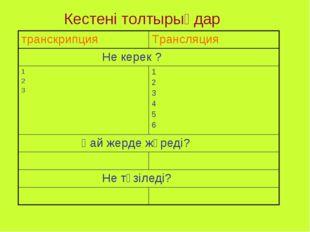 Кестені толтырыңдар транскрипцияТрансляция Не керек ? 1 2 31 2 3 4 5 6 Қай