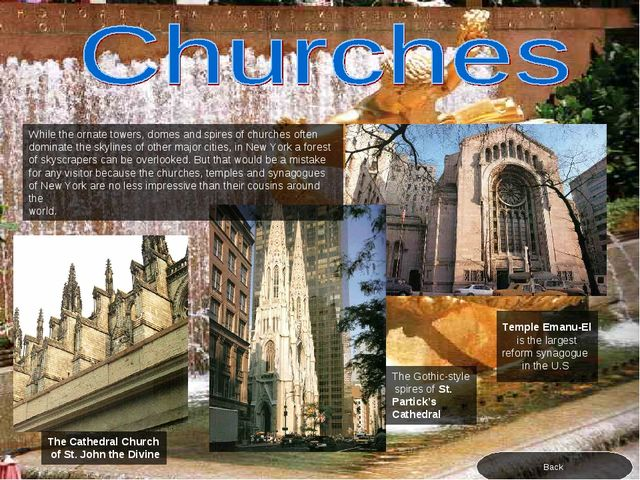 The Cathedral Church of St. John the Divine The Gothic-style spires of St. Pa...
