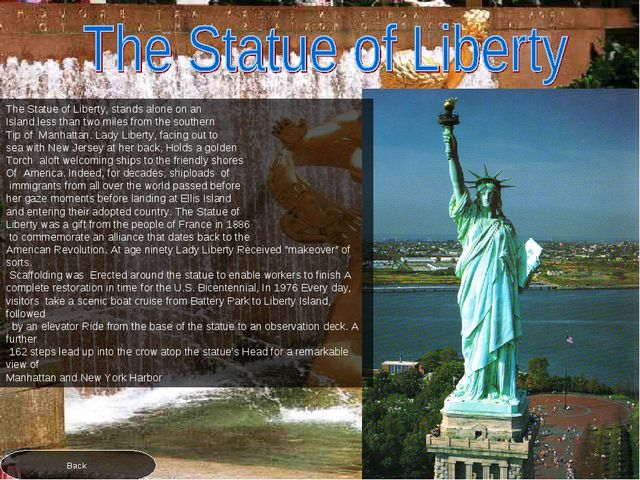 The Statue of Liberty, stands alone on an Island less than two miles from the...