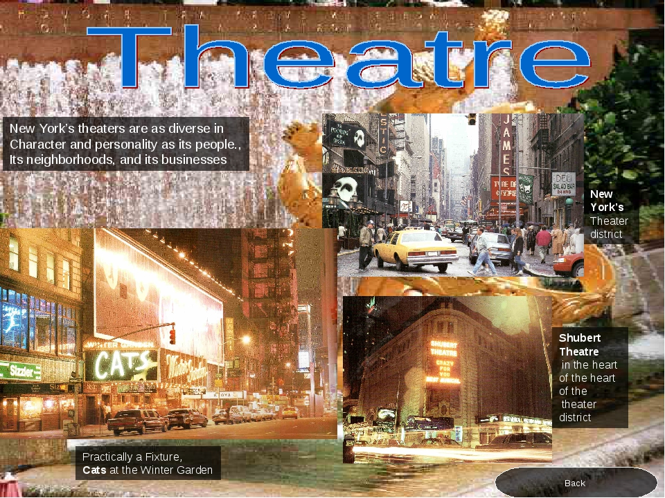 New York's theaters are as diverse in Character and personality as its people...