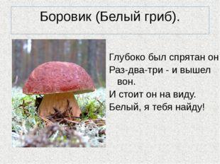 Боровик (Белый гриб). Глубоко был спрятан он, Раз-два-три - и вышел вон. И ст