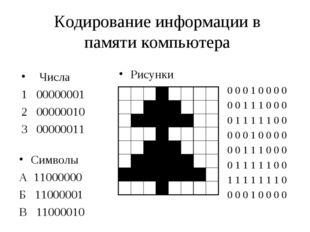 Кодирование информации в памяти компьютера Числа 1 00000001 2 00000010 3 0000