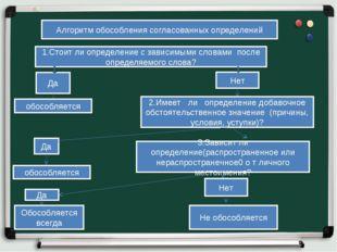 Алгоритм обособления согласованных определений 1.Стоит ли определение с завис