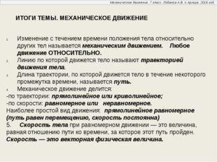 Механическое движение. 7 класс. Лобанов А.В. п.Архара. 2016 год. ИТОГИ ТЕМЫ.