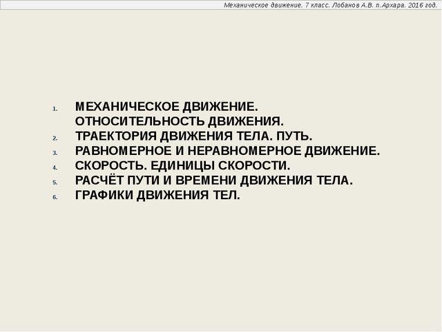 Механическое движение. 7 класс. Лобанов А.В. п.Архара. 2016 год. МЕХАНИЧЕСКОЕ...