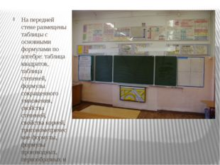 На передней стене размещены таблицы с основными формулами по алгебре: таблиц