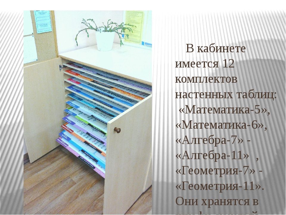 В кабинете имеется 12 комплектов настенных таблиц: «Математика-5», «Математи...