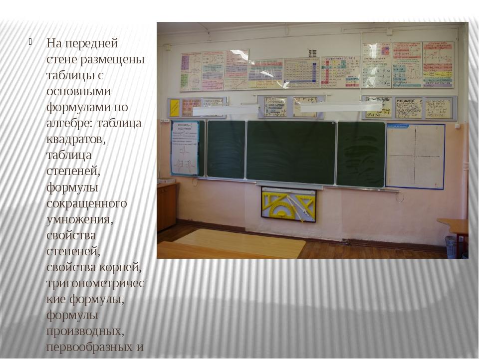 На передней стене размещены таблицы с основными формулами по алгебре: таблиц...