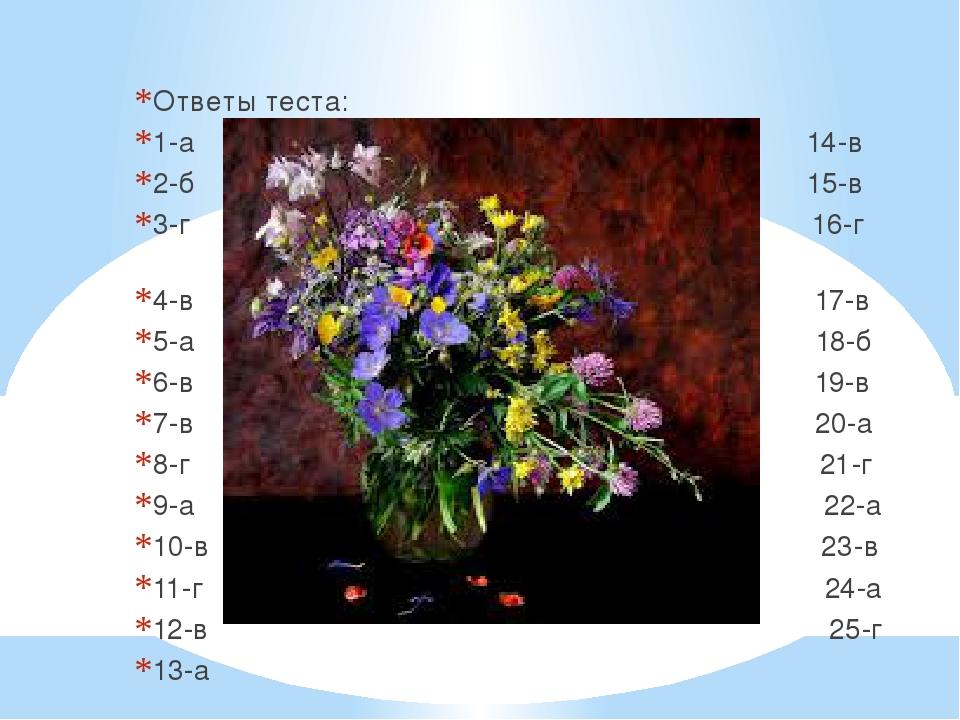 Ответы теста: 1-а 14-в 2-б 15-в 3-г 16-г 4-в 17-в 5-а 18-б 6-в 19-в 7-в 20-а...