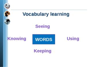 Vocabulary learning Seeing Knowing Using Keeping WORDS