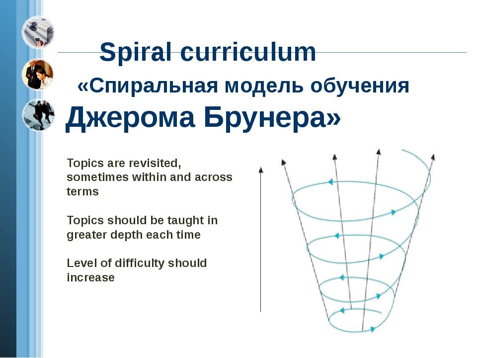 Spiral curriculum «Спиральная модель обучения Джерома Брунера» Topics are re...