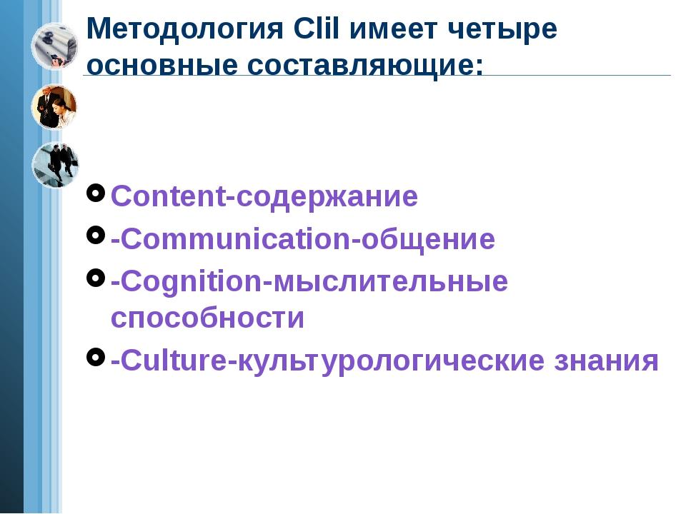 Методология Clil имеет четыре основные составляющие: Content-содержание -Comm...