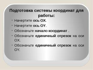Подготовка системы координат для работы: Начертите ось OХ. Начертите ось OY.
