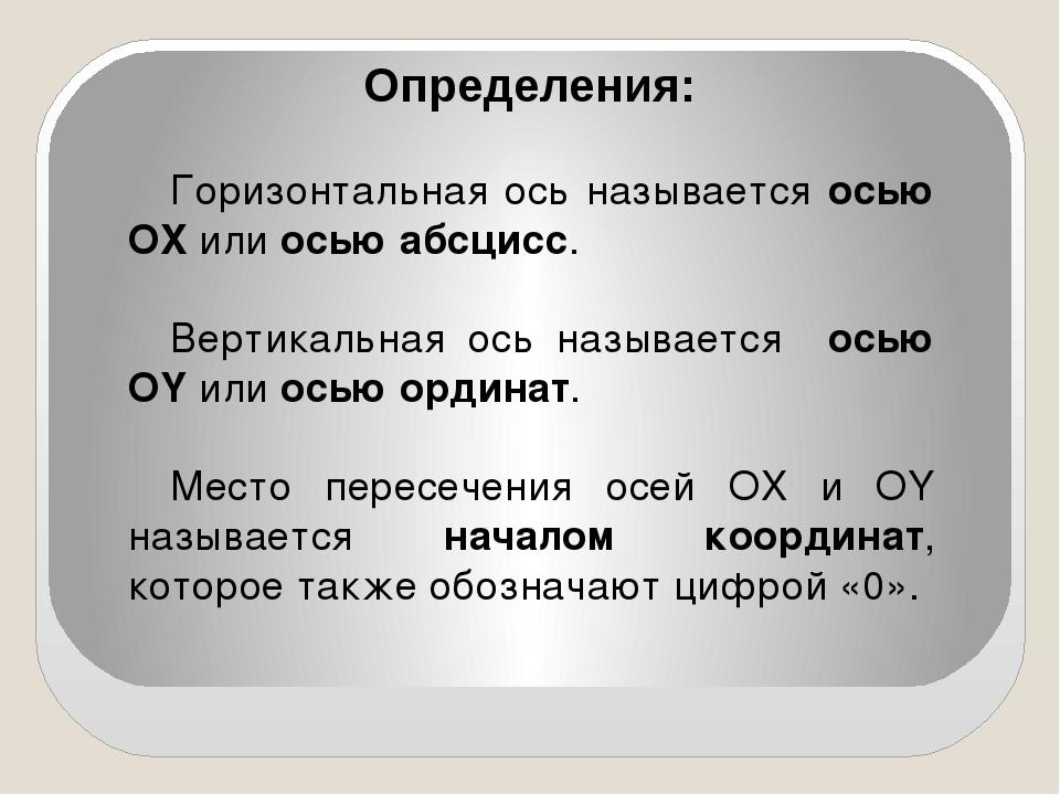 Определения: Горизонтальная ось называется осью OX или осью абсцисс. Вертикал...