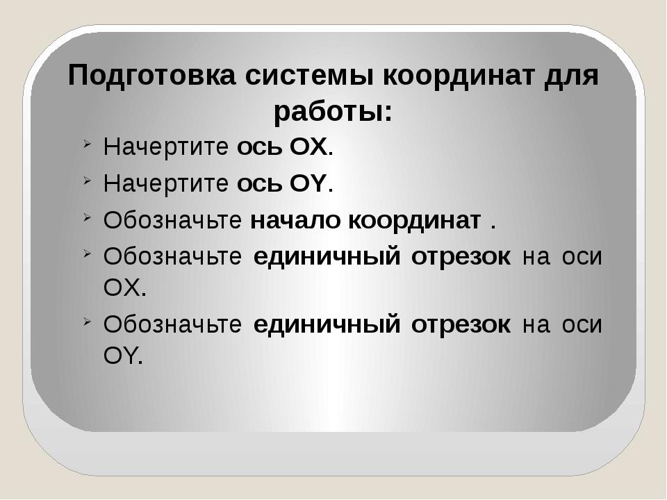 Подготовка системы координат для работы: Начертите ось OХ. Начертите ось OY....