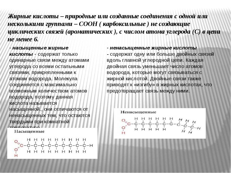 Жирные кислоты–природные или созданные соединения с одной или несколькими г...