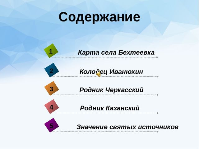 Содержание Родник Казанский 4 Карта села Бехтеевка 1 Колодец Иванюхин 2 Родни...