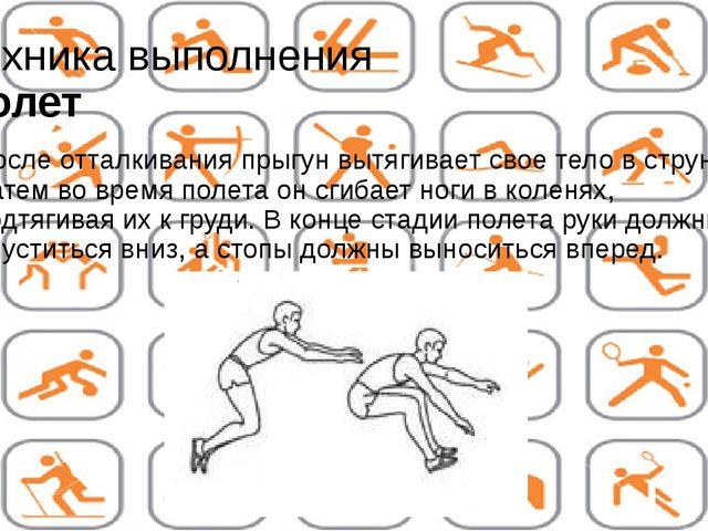 Техника выполнения Полет После отталкивания прыгун вытягивает свое тело в стр...