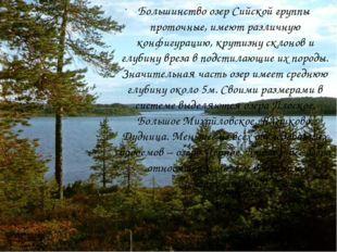 Большинство озер Сийской группы проточные, имеют различную конфигурацию, кр