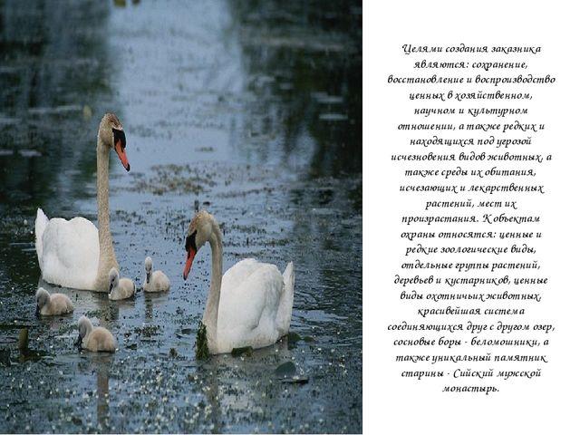 Целями создания заказника являются: сохранение, восстановление и воспроизводс...