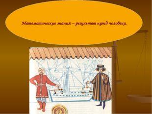 Математические знания – результат нужд человека.