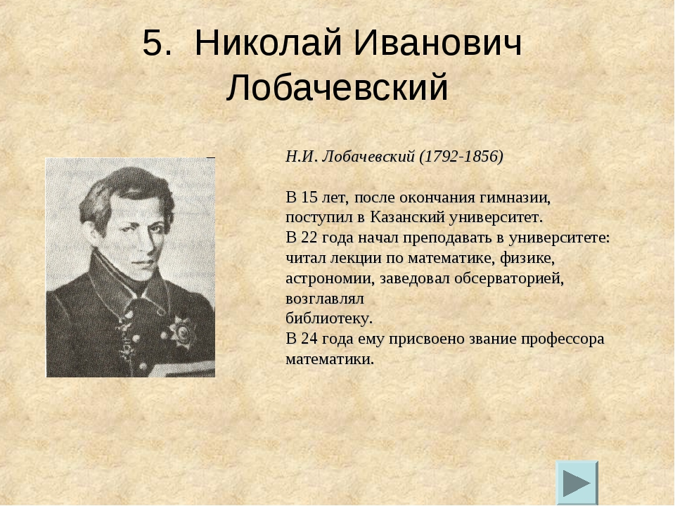 5. Николай Иванович Лобачевский Н.И. Лобачевский (1792-1856) В 15 лет, после...