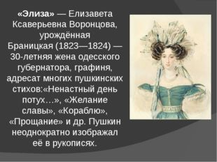 «Элиза»—Елизавета Ксаверьевна Воронцова, урождённая Браницкая(1823—1824)—