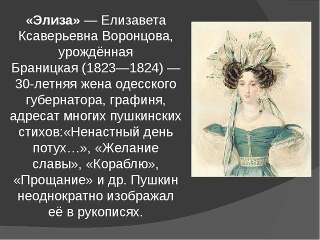 «Элиза»—Елизавета Ксаверьевна Воронцова, урождённая Браницкая(1823—1824)—...