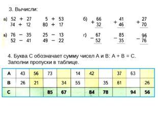 3. Вычисли: 4. Буква С обозначает сумму чисел А и В: А + В = С. Заполни пропу