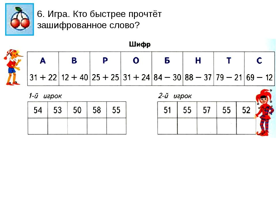 6. Игра. Кто быстрее прочтёт зашифрованное слово?