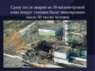 Сразу после аварии из 30-километровой зоны вокруг станции было эвакуировано о