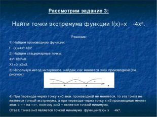 Рассмотрим задание 3: Найти точки экстремума функции f(x)=х-4x³. Решение: 1)