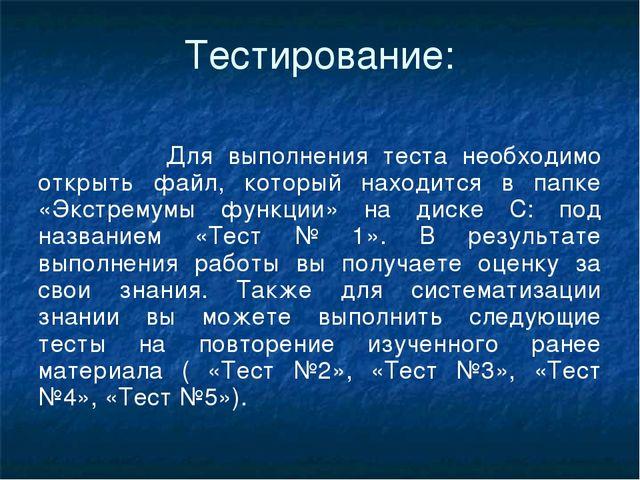 Тестирование: Для выполнения теста необходимо открыть файл, который находится...