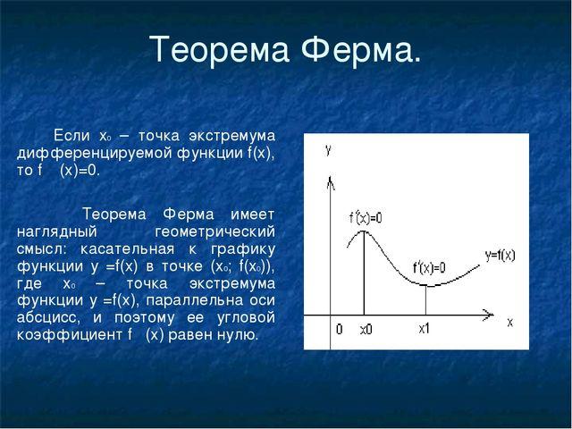 Теорема Ферма. Если х0 – точка экстремума дифференцируемой функции f(x), то f...