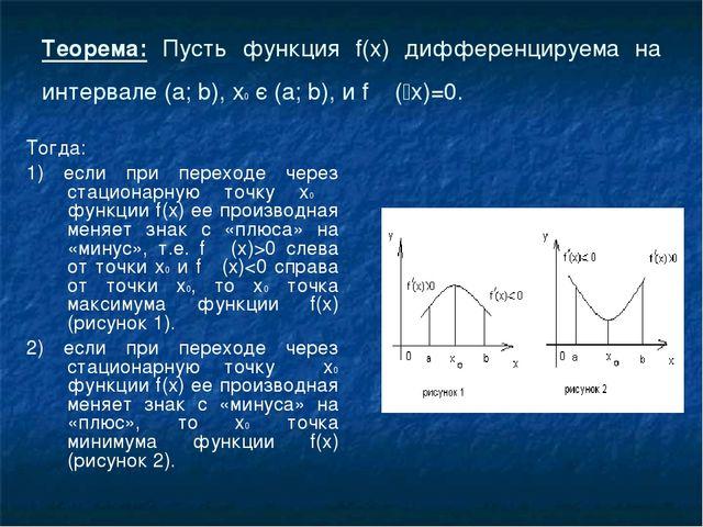 Теорема: Пусть функция f(x) дифференцируема на интервале (а; b), х0 є (а; b),...