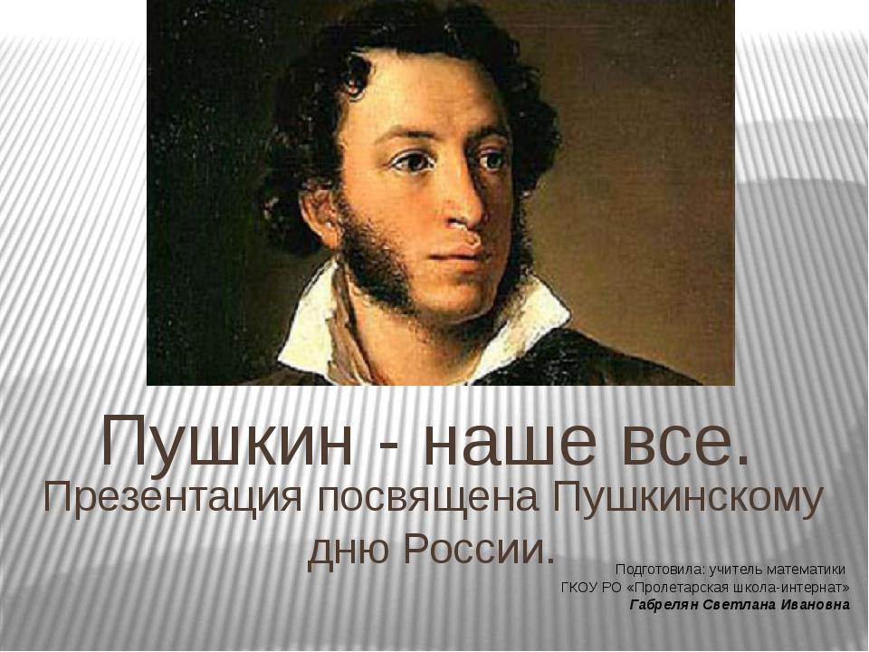 Пушкин - наше все. Презентация посвящена Пушкинскому дню России. Подготовила:...