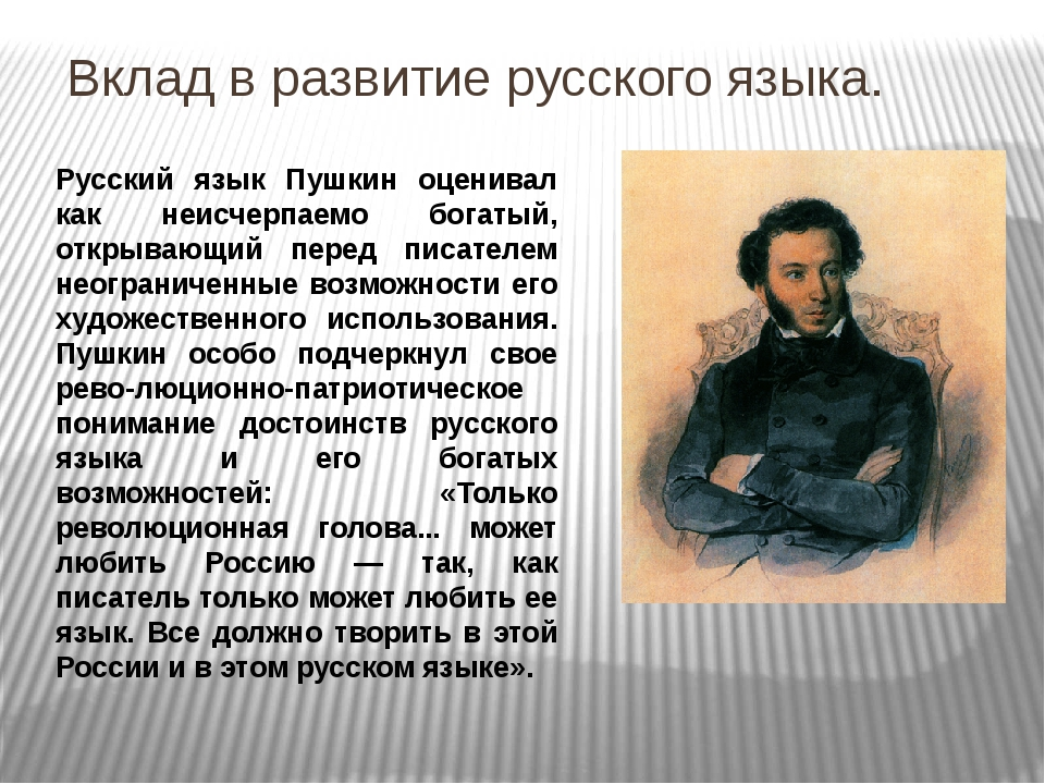 Русский язык Пушкин оценивал как неисчерпаемо богатый, открывающий перед писа...
