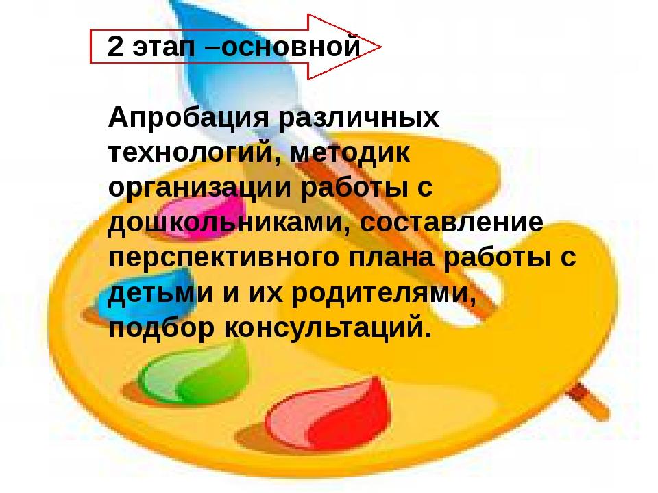 2 этап –основной Апробация различных технологий, методик организации работы с...