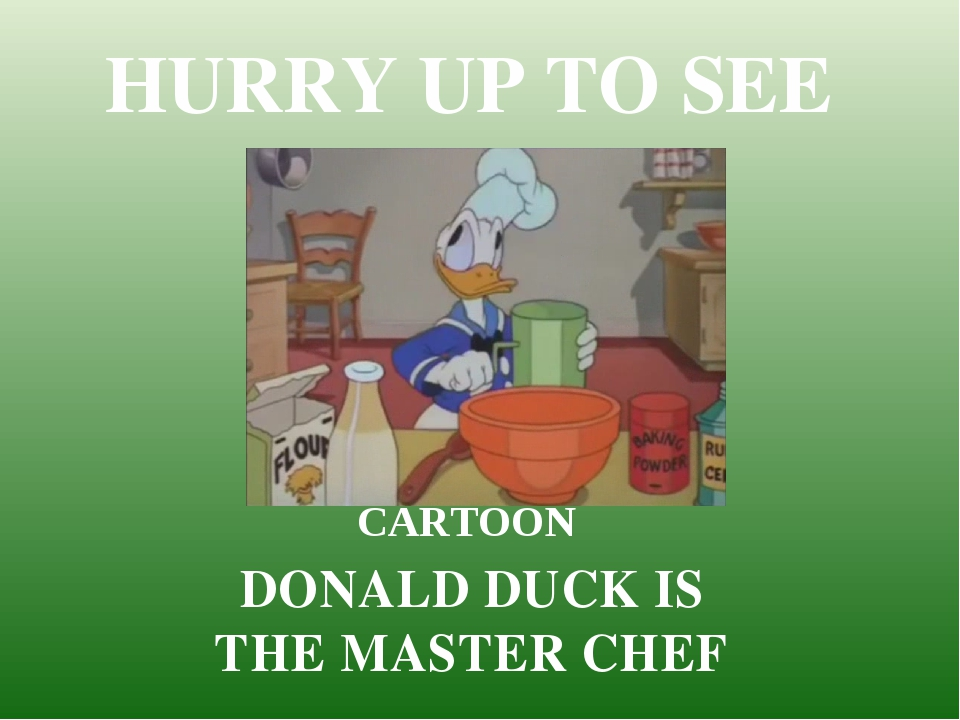 HURRY UP TO SEE CARTOON DONALD DUCK IS THE MASTER CHEF