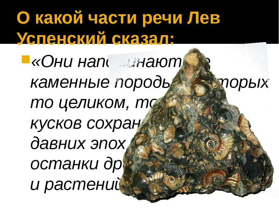 О какой части речи Лев Успенский сказал: «Они напоминают те каменные породы,...