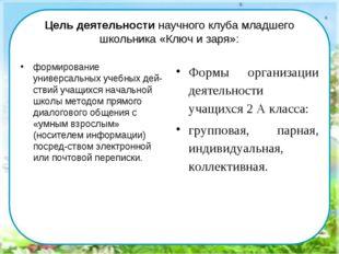 Цель деятельности научного клуба младшего школьника «Ключ и заря»: формирован
