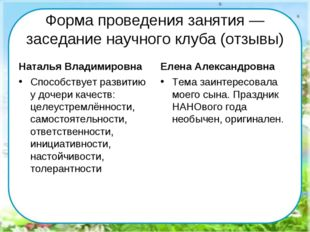 Форма проведения занятия — заседание научного клуба (отзывы) Наталья Владимир