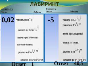 ВАРИАНТ 1 Число  Задание Вариант 2