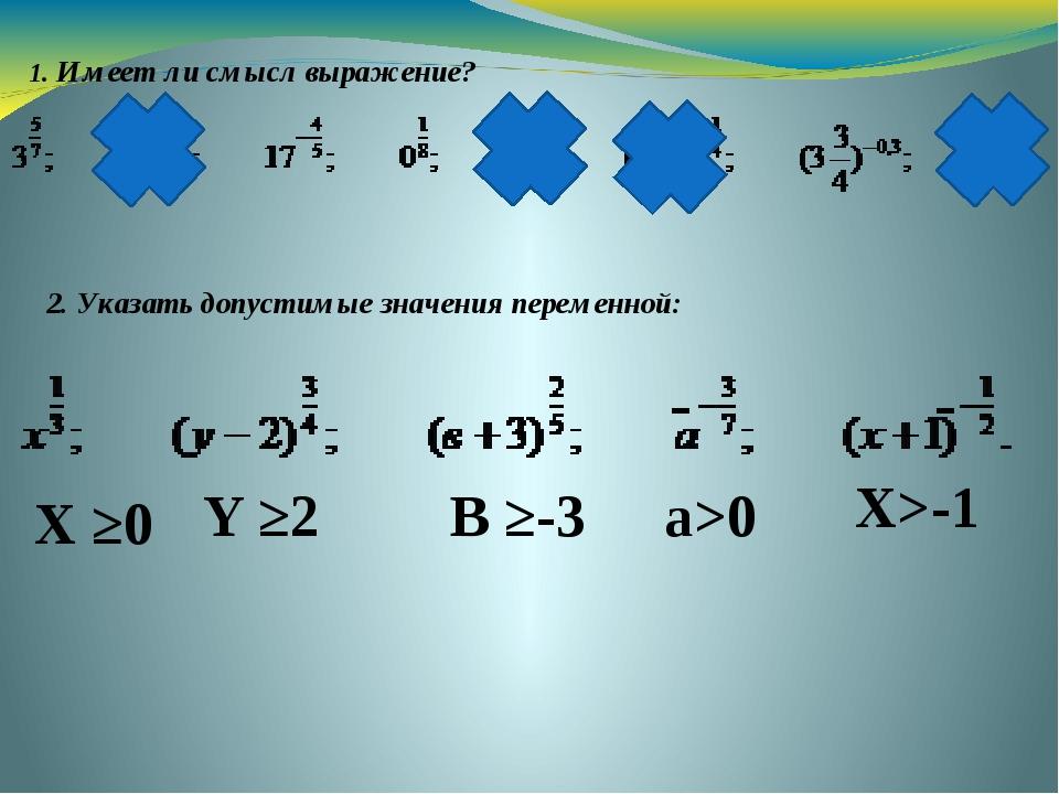 1. Имеет ли смысл выражение? 2. Указать допустимые значения переменной:  Х ≥...