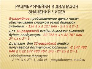 8-разрядное представление целых чисел обеспечивает слишком узкий диапазон зна