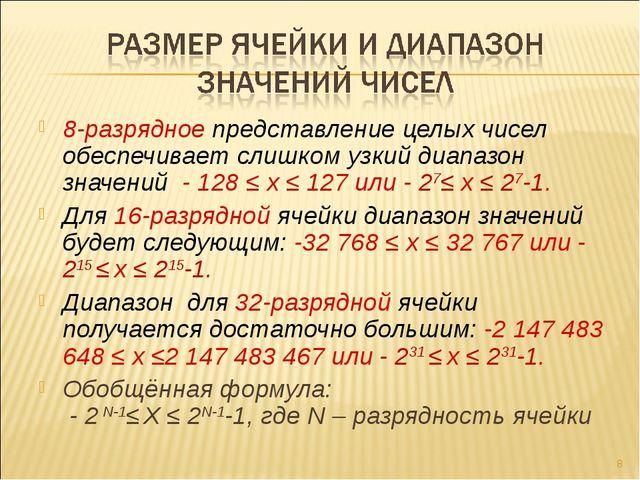 8-разрядное представление целых чисел обеспечивает слишком узкий диапазон зна...