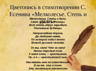 Цветопись в стихотворении С. Есенина «Мелколесье. Степь и дали.» Мелколесье.