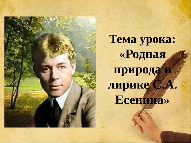Тема урока: «Родная природа в лирике С.А. Есенина»