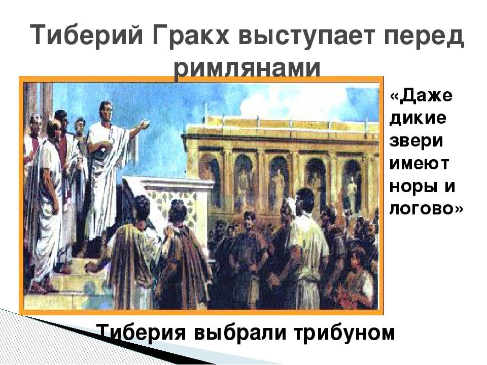 Тиберий Гракх выступает перед римлянами «Даже дикие звери имеют норы и логово...