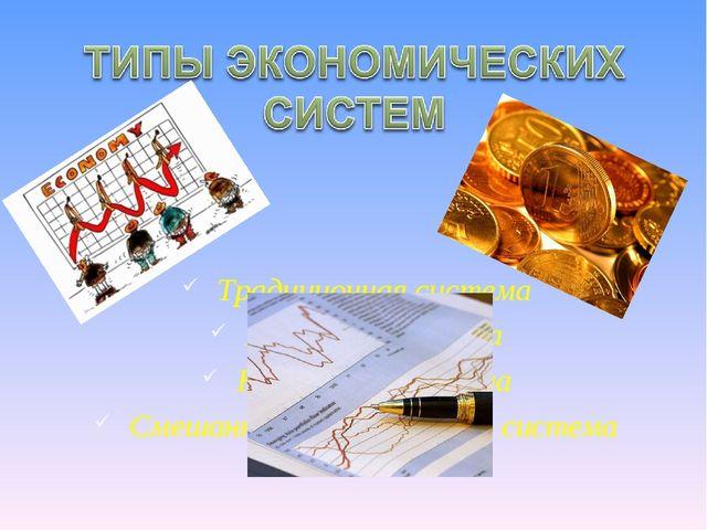 Традиционная система Рыночная система Командная система Смешанная экономическ...